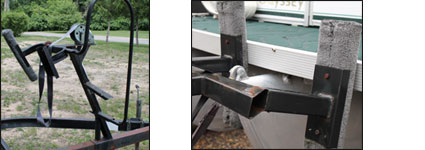 damaged pontoon boat winch stands